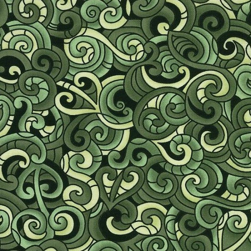 Nutex Kiwiana Moko Green & Cream Quilt Fabric 85200 Col2