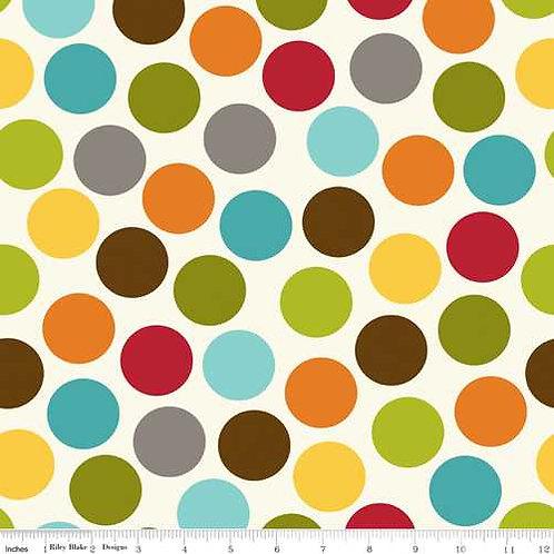 Riley Blake Puppy Park C2952-MULTI Park Dot Multi Quilt Fabric