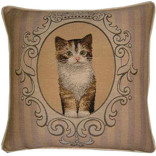 Framed Tortoiseshell Kitten Tapestry Cushion Cover