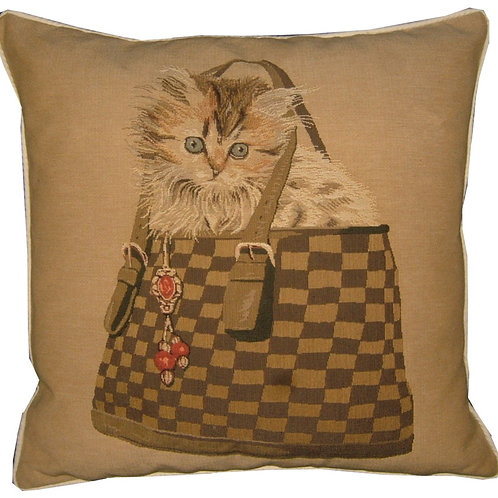 Kitten in Check Bag Peeping Tapestry Cushion Cover