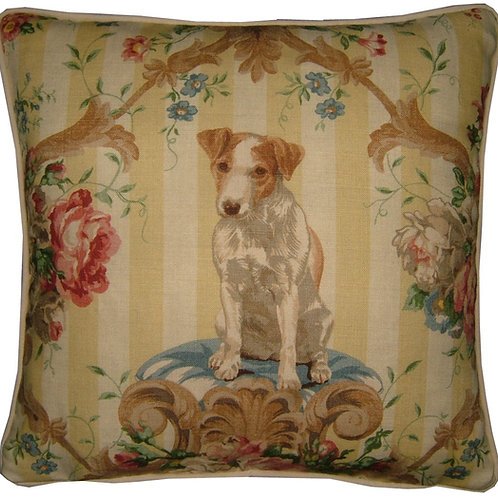"Lee Jofa ""Putting on the Dogs"" Jack Russell Terrier Cushion Cover"