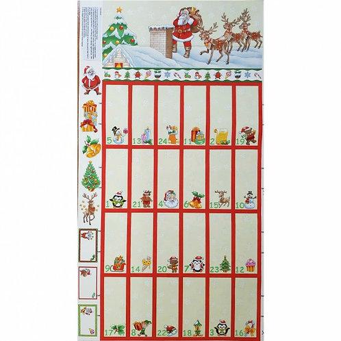 "Nutex Santa & Reindeer Cream Advent Calendar 60cm / 24"" panel"
