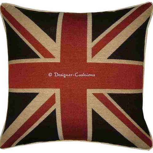 Union Jack Black Flag Tapestry Cushion Cover