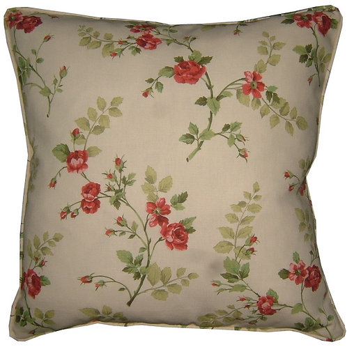 Shabby Chic Roses Cotton Duck Cushion Cover
