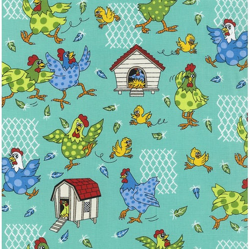 Nutex Novelty Farm Fun Chickens 80500 Col1 Quilt Fabric