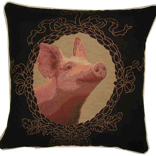 Pink Pig Tapestry Cushion Cover