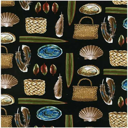 Nutex Kiwiana Kiwi Icons Manatunga Quilt Fabric Black Col 2