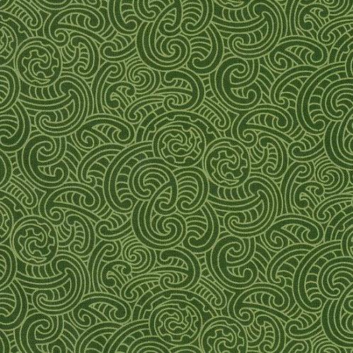 Nutex Kiwiana Ponga Koru Green Quilt Fabric