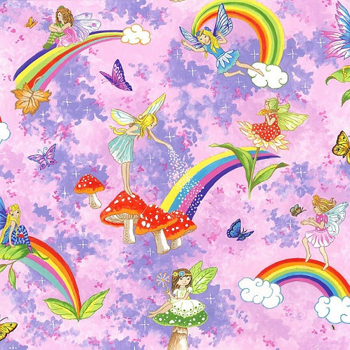 Nutex Novelty Pretty Please Fairies and Rainbows Quilt Fabric
