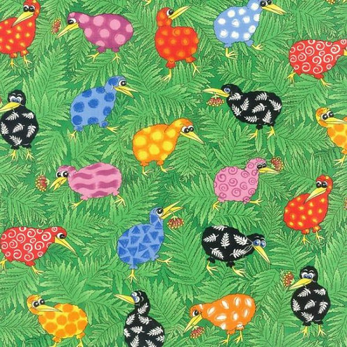Nutex Kiwiana Rainbow Kiwis Quilt Fabric 88830