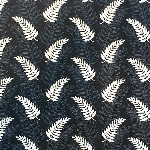 Nutex Kiwiana Ferntastic Black / White / Grey Quilt Fabric 87460