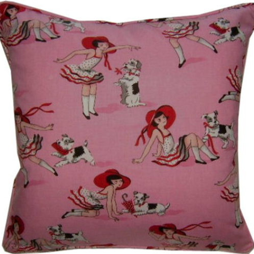 Jane Churchill 'Miss Millie' Pink Cotton Cushion Cover