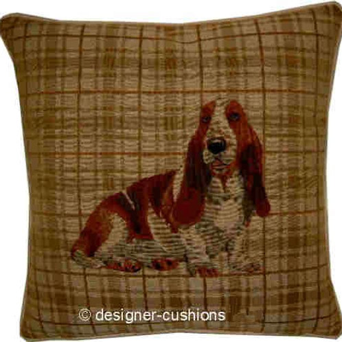 Bassett Hound Light Check Tapestry Cushion Cover