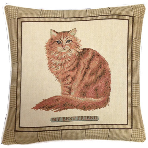 Best Friend Ginger Cat Tapestry Cushion Cover