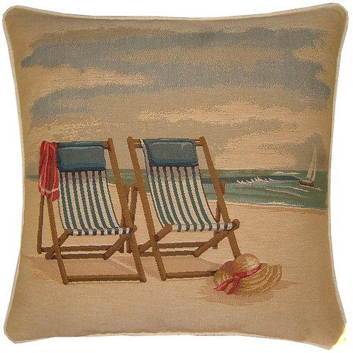 Beach Deckchairs Tapestry Cushion Cover