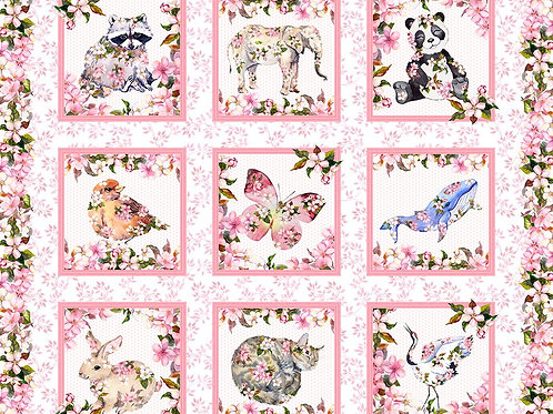 In the Beginning 'Pretty in Pink' Animal Panel 90cm 1PIP-1 Quilt Fabric