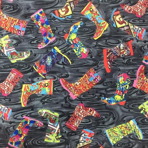 Nutex Australiana Gumboots Charcoal Quilt Fabric