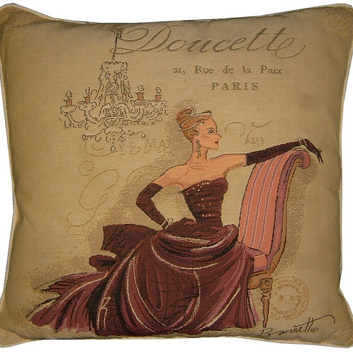 Chad Barrett Couture Fashion Paris Doucette Tapestry Cushion Cover