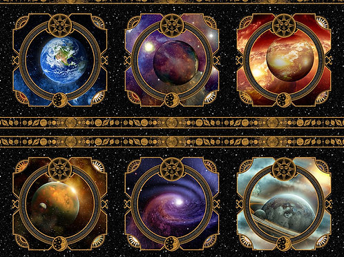 "Jason Yenter ""Cosmos"" Planet Panel 2COS-1 Quilt Fabric"
