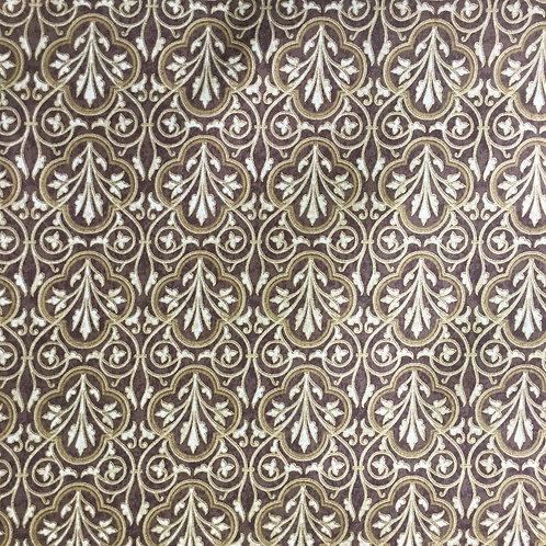 Hoffman Orleans Brown & Gold Flower Frames K7138 Quilt Fabric