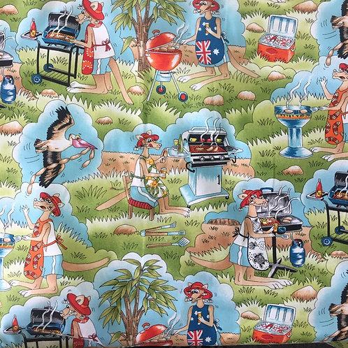 Nutex Australiana Hoppy's Barbie BBQ Quilt Fabric