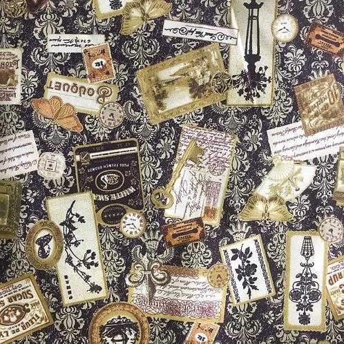 Hoffman Orleans Brown Postcards K7136 Quilt Fabric