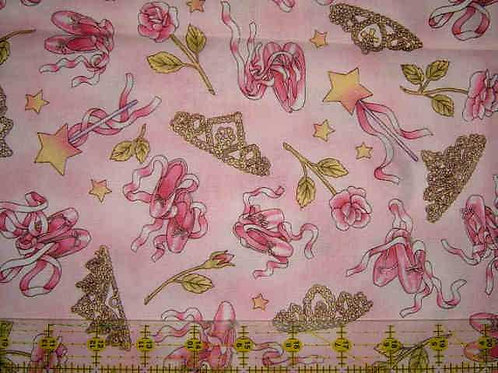 Nutex Novelty Swan Lake Pink Ballet Shoes Novelty Quilt Fabric