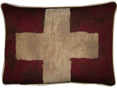 Vintage Style Swiss Flag Tapestry Oblong Cushion Cover