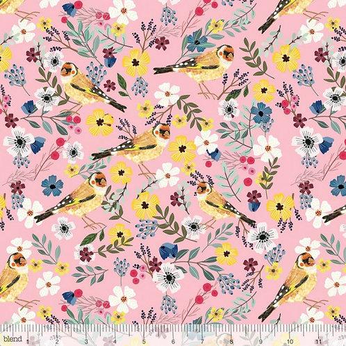 """Blend """"Birdie"""" Pink Background Birds Quilt Fabric 78510 Col9"""