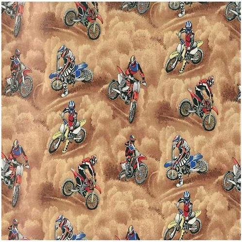 Nutex Novelty Motorcross Bike Riders Allover Novelty Quilt Fabric Col 1