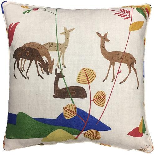 G P & J Baker 'Deer' Bright Colourway Linen Cushion Covers