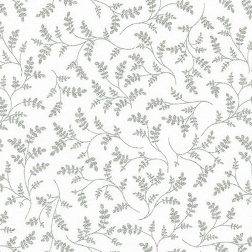Robert Kaufman Whisper Metallics Blanc Leaves 19221-303 Quilt Fabric
