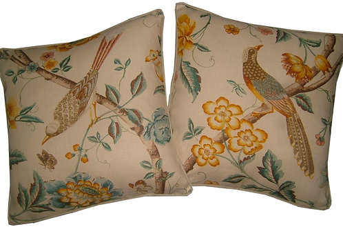 Pair of G P & J Baker 'Elinors Chinese' Yellow/Teal Linen Cushion Covers