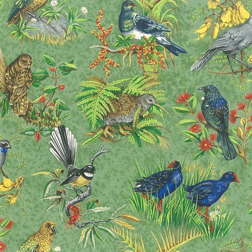 Nutex Kiwiana Chatter Birds Quilt Fabric 89400