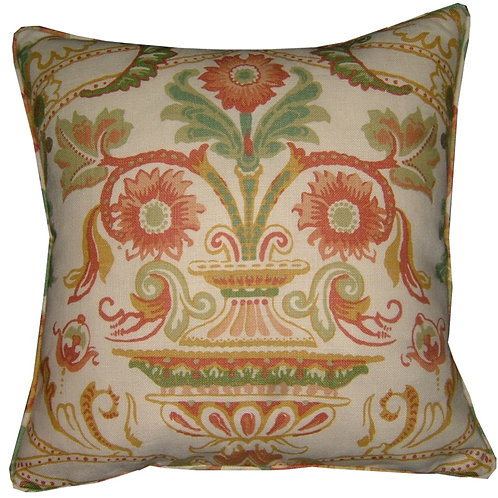 Schumacher Fontenay Vase Linen Cushion Cover