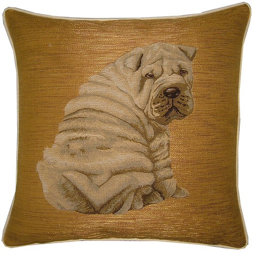Sharpei Sitting Back View Tapestry Cushion Cover