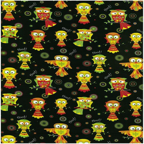 Nutex Novelty Circle Circus Circles Owls Col 1 Novelty Quilt Fabric