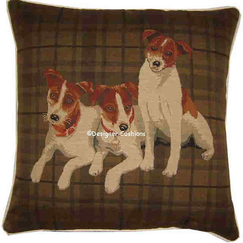 Jack Russell Pack Dark Check Tapestry Cushion Cover