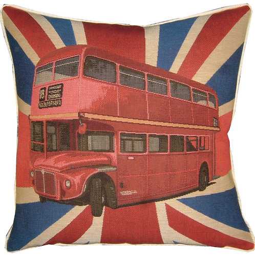 Union Jack London Red Bus Tapestry Cushion Cover