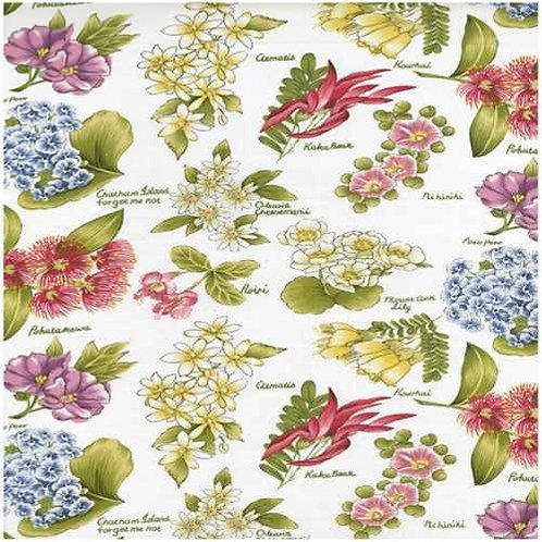 Nutex Kiwiana Flowers of Aotearoa Quilt Fabric