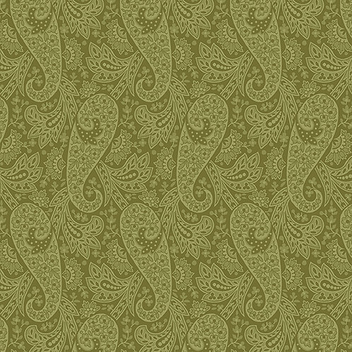 Andover 'Hat Box' Green Paisley 93560 Col7 Quilt Fabric