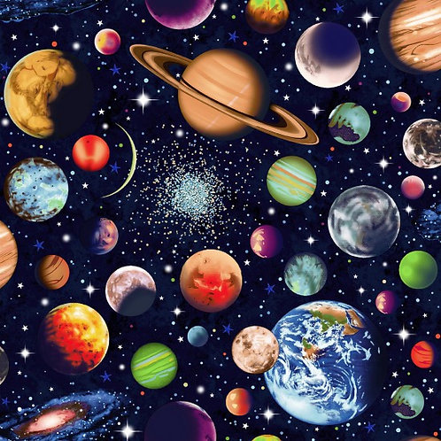 Nutex Novelty Solar System Scattered Planets 89690 Col3 Quilt Fabric