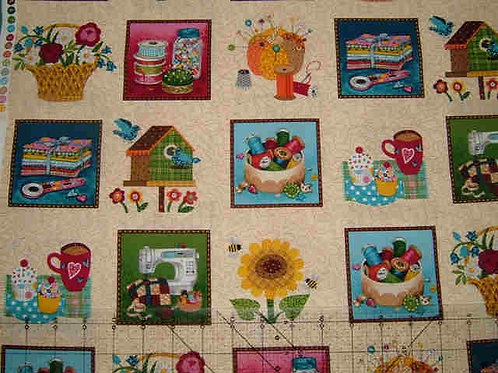 Makower Stash Card Making Squares Quilt Fabric 30cm / 12""
