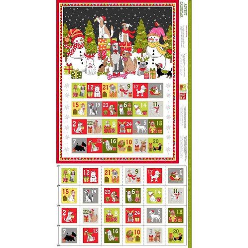 "Makower Novelty Yappy Christmas Advent Calendar 60cm / 24"" panel"