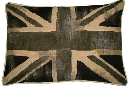 Vintage Style Black & Cream Union Jack Flag Tapestry Oblong Cushion Cover