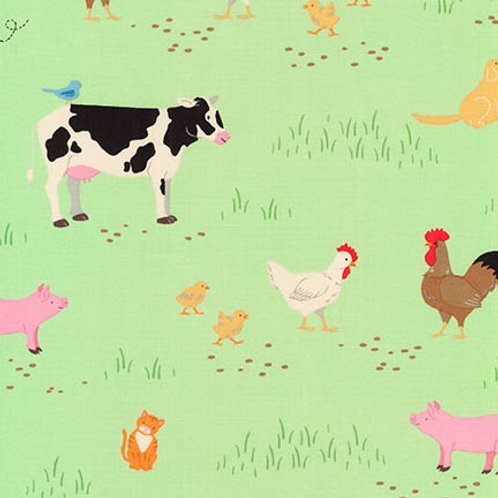 Robert Kaufman What Do the Animals Say Green Farmyard Quilt Fabric 18061-7 Green