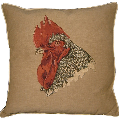 Rooster Head Tapestry Cushion Cover