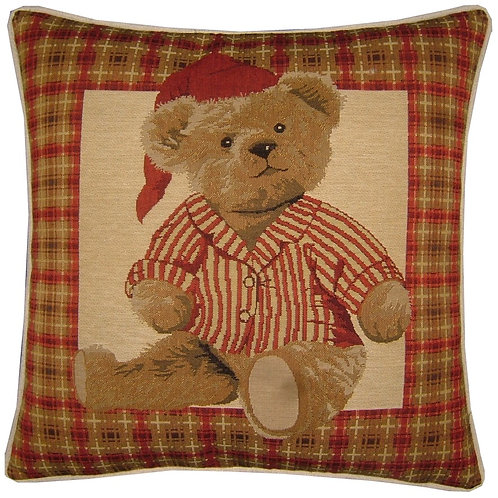 Red Teddy Bear Night Time Tapestry Cushion Cover