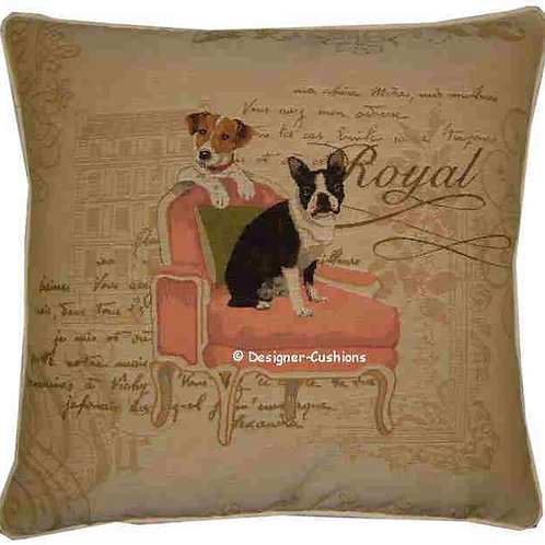 Boston Terrier and Jack Russell Terrier Tapestry Cushion Cover