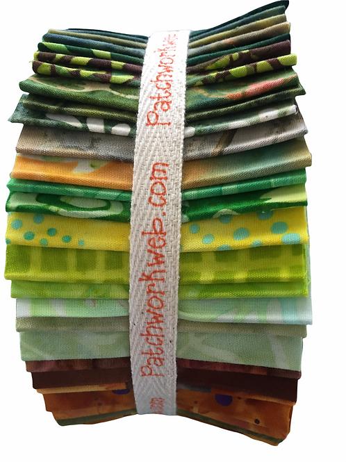 """Batik """"Citrus Tree"""" Jelly Roll - 40 x 2.5"""" x WOF"""